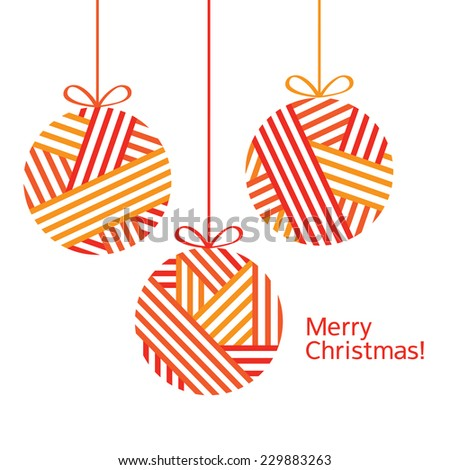 Christmas decorations. Christmas card. Merry Christmas. Congratulation. Happy New Year. Vector illustration. - stock vector