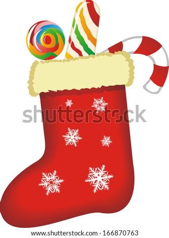 Christmas decorations, Christmas sock vector - stock vector