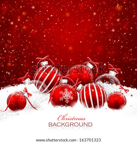 Christmas decorations in the snow - stock vector
