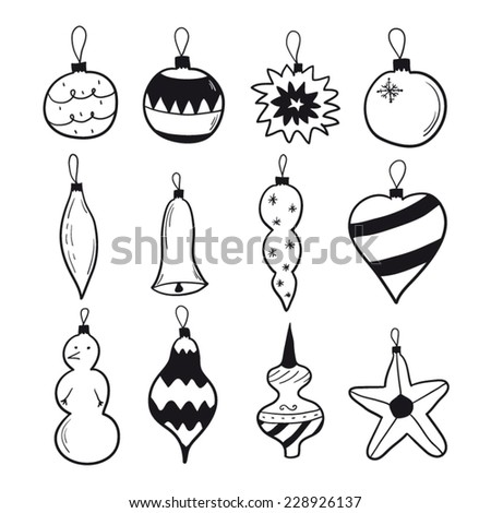 Christmas decorations set black and white - stock vector