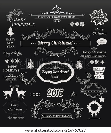 Christmas decorations set-Chalkboard   - stock vector