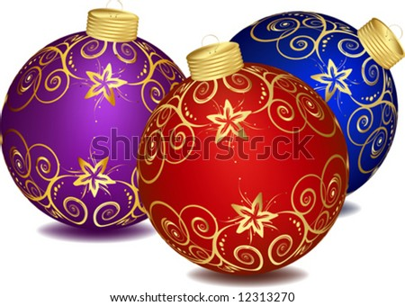 Christmas decorations Set decorated with colourful balloons isolated on a white background VECTOR (See Jpeg Also In My Portfolio) - stock vector