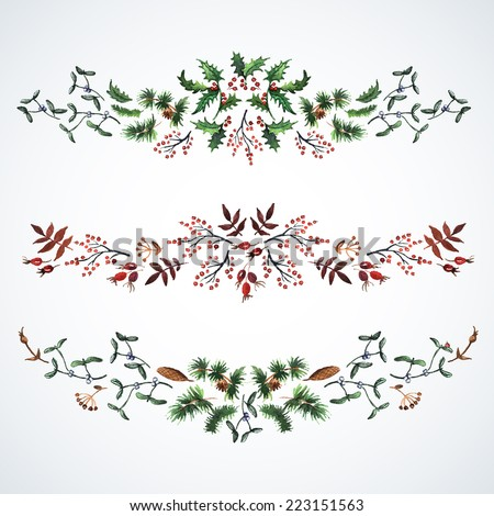 Christmas decorations watercolor from plants. Christmas decor. Ideal for design Christmas gifts and scrapbooking. Illustration for greeting cards, invitations, and other printing projects. - stock vector