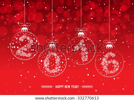 Christmas decorations with the figures 2016  - stock vector