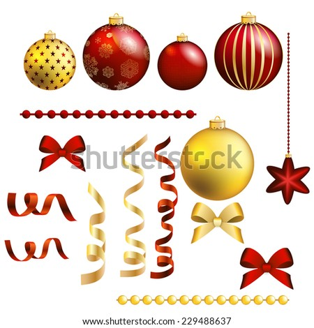 Christmas decorative ball and ribbon set. Collection of various Christmas elements for design and page decoration. Vector illustration. - stock vector