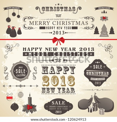 Christmas decorative ornaments, vintage labels and ribbon - stock vector