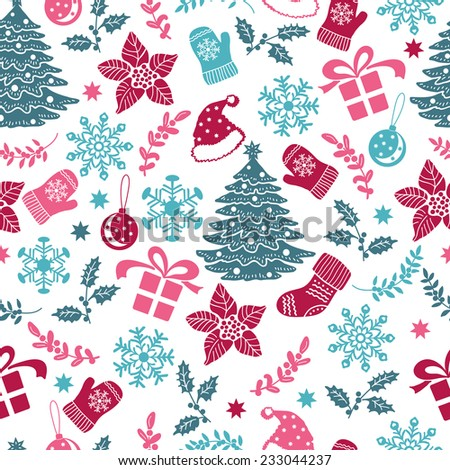 Christmas decorative pattern.  Hand drawing. Christmas decorations. Seamless pattern for fabric, paper and other printing and web projects. - stock vector