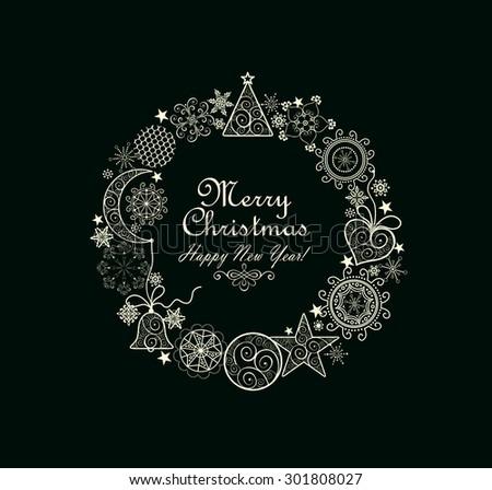 Christmas decorative wreath - stock vector