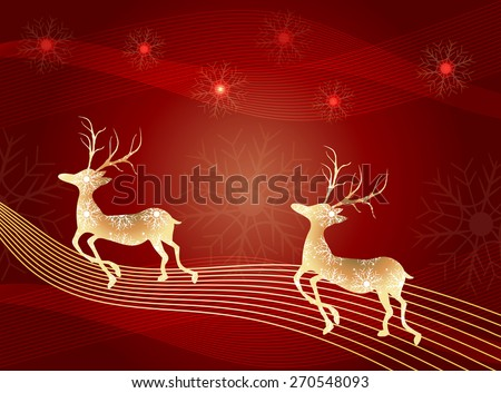Christmas deer-christmas greeting card background with deers and snowflake  - stock vector