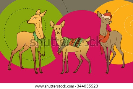 Christmas deer in scarfs, sweaters and Christmas hats. New Year's little fawns. Colorful deer. Deer set. Vector illustration. - stock vector
