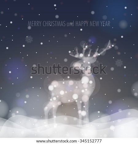 Christmas Deer Silhouette on Glowing Blurry Background. Vector Illustration. Eps 10 - stock vector