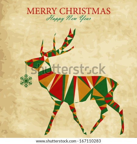 Christmas deer with snowflake, vintage holiday card - stock vector