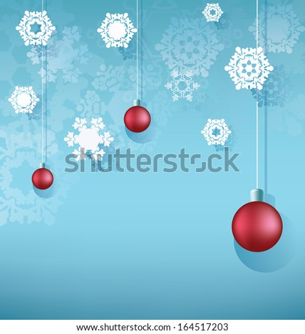 Christmas design composition with hanging ball, snowflakes. - stock vector