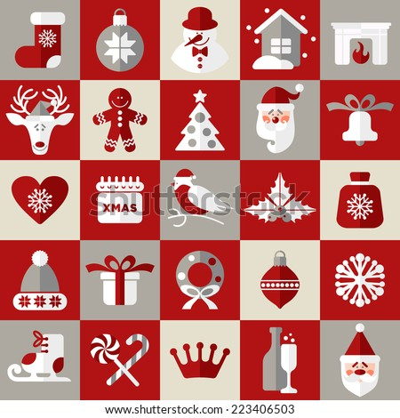 Christmas design icons set. Vector background.Seamless pattern og christmas decoration. - stock vector