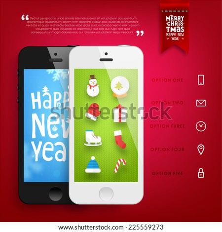 Christmas Design. Mobile Phones Mock Up Templates with Holiday Icons Set and Winter Background with Blurred Snowflakes. Xmas Label for Greeting Cards an Banners Design. - stock vector