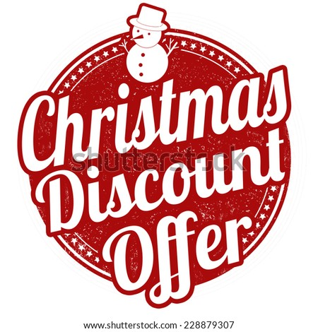 Christmas discount offer grunge rubber stamp on white background, vector illustration - stock vector