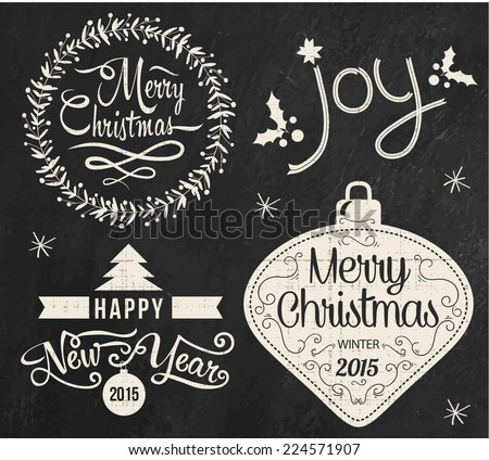 Christmas doodle chalkboard graphic set: Merry Christmas, Happy New Year and Joy. Collection of typography chalk design elements.  - stock vector