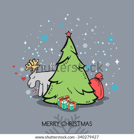 Christmas doodle greeting card with a deer. Congratulations deer, tree, and a gift bag. Snowflakes and stars on the background. Festive inscription. Creative Christmas and New Year finished design - stock vector