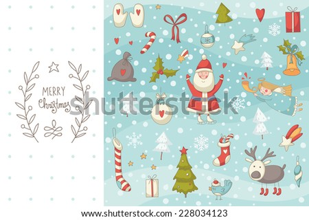 Christmas doodle set with Santa Claus. EPS 10. No transparency. No gradients. - stock vector