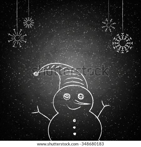Christmas drawing snowman on the blackboard background. Vector illustration - stock vector