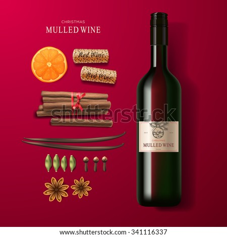 Christmas drink mulled wine, bottle of wine and ingredients, vector illustration. - stock vector