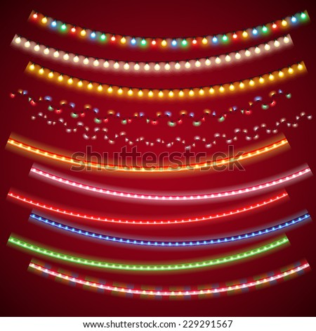 Christmas Electric Garlands Set for Celebratory Design. Used pattern brushes included. - stock vector