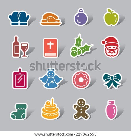 Christmas Element Color Icon Label - stock vector