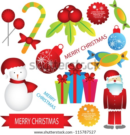 christmas element set - stock vector