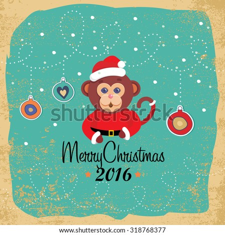 Christmas elements, cute cartoon monkey, vector illustrations for greeting cards - stock vector