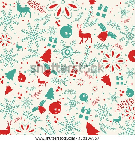 Christmas elements, with text and pattern background. EPS10 vector file. for graphic design - stock vector