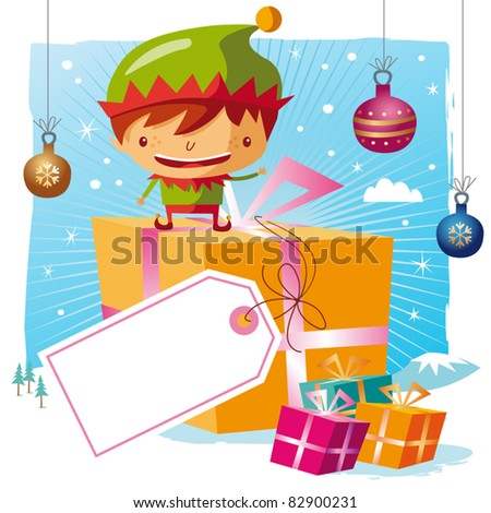 Christmas - Elf and his gifts with a big tag - stock vector