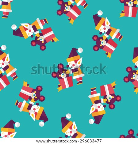 Christmas elf flat icon, eps10 seamless pattern background - stock vector