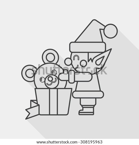 Christmas elf flat icon with long shadow, line icon - stock vector