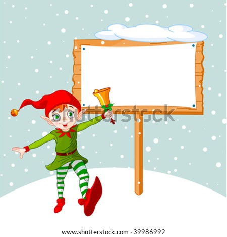 Christmas elf jumping and ringing a bell.  Be ready to put your message or advertisement - stock vector