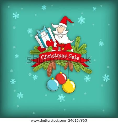 Christmas emblem Christmas with Santa, banner, gift, fir branches, pine cones, balls. Logo Christmas sale. - stock vector