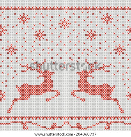 Christmas embroidery cross-stitch pattern with deer and snowflakes. This pattern is seamless, it can be turned into a border. - stock vector
