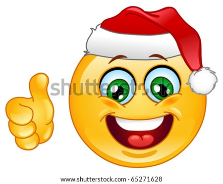 Christmas emoticon with thumb up - stock vector
