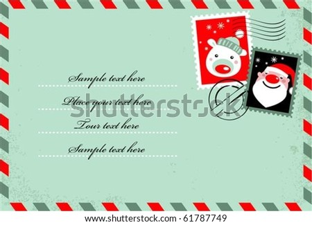 Christmas envelope with cute stamps - stock vector