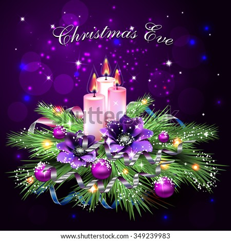 Christmas Eve, Christmas composition of spruce, streamers, Christmas decorations, snow, greeting design.Vector  - stock vector
