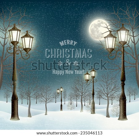 Christmas evening winter landscape with lampposts. Vector.  - stock vector