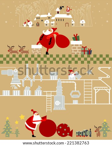 Christmas factory gold Funny Santa Claus preparing gifts for Christmas  - stock vector