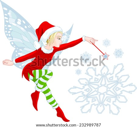Christmas Fairy granting wishes and helping your dreams come true - stock vector