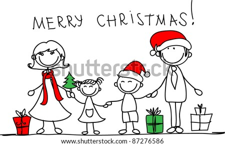 Christmas family - stock vector