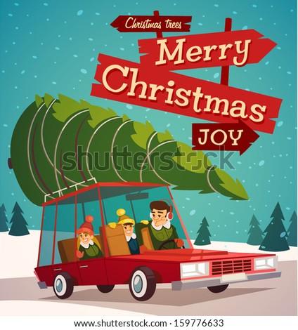 Christmas family holidays. Merry Christmas illustration.  - stock vector