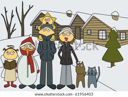christmas; family in front of their house, in a snow landscape, about to take a picture. Children dressing christmas coustumes for de school's festival. - stock vector