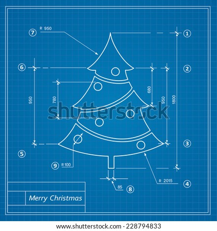 Christmas fir drawing blueprints on a blue background - stock vector