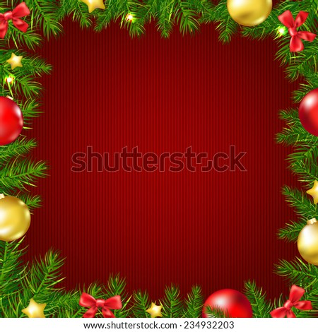 Christmas Fir Tree Border Card With Gradient Mesh, Vector Illustration - stock vector
