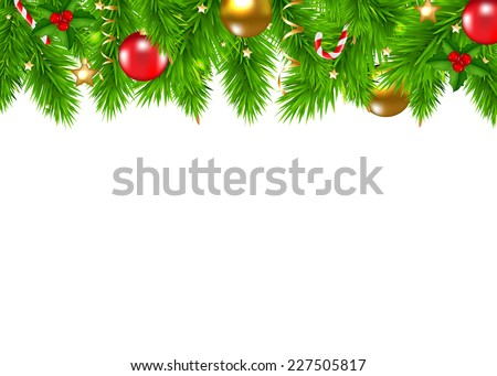 Christmas Fir Tree Border With Gradient Mesh, Vector Illustration - stock vector