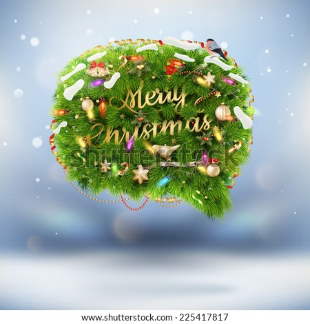 Christmas fir tree Bubble for speech. EPS 10 vector file included - stock vector