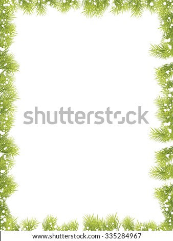 Christmas Fir Tree Frame 2 - stock vector